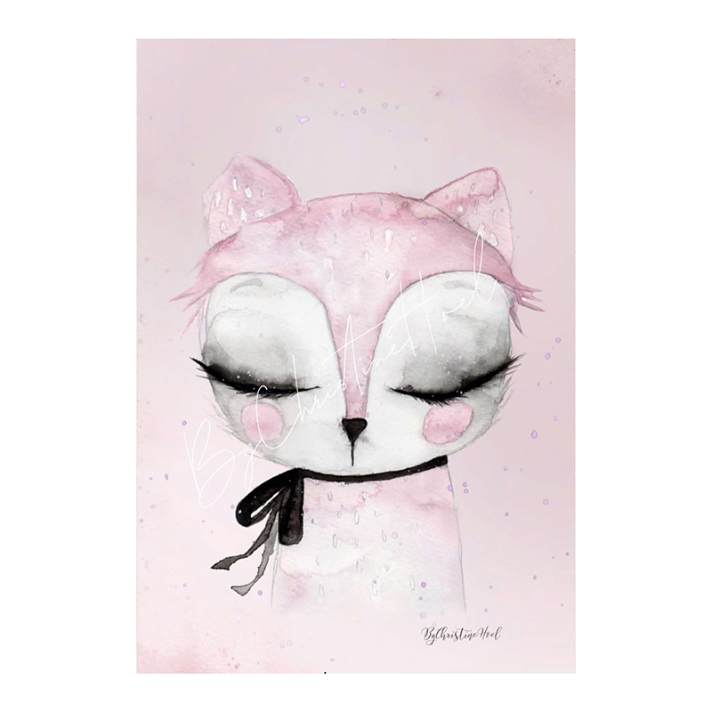 Pink Cat By Christine Hoel